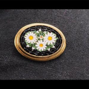 Vintage Brooch Micro Mosaic Made in Italy